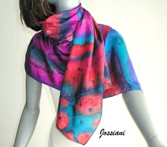 Hand Dyed Silk Wrap, Multicolor Scarf, One of a Kind, Read to Ship, by silk artist Jossiani