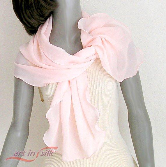 Light Peach Pink Scarf, Petite Wrap Coverup, Unique Hand Dyed in Pure Silk Chiffon Wrap, Artinsilk.