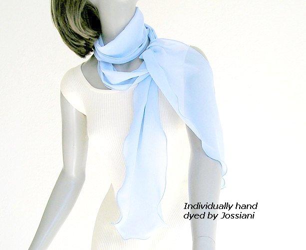 Periwinkle Long Skinny Scarf Blue Silk Hyacinth Hydrangea, Hand Dyed One of a Kind