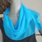 "Small Turquoise Blue Silk Chiffon Neck Scarf, Small Petite Scarf for Girl  21""x21"", Artinsilk"