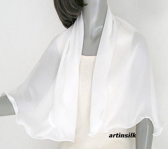 Natural White Silk Crepe Shoulder Coverup Scarf Wrap, Artisan Handmade, Artinsilk.