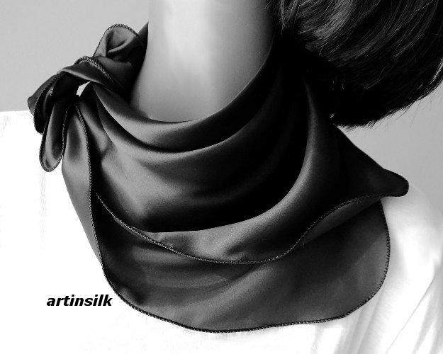"Small Silk Charmeuse Black Scarf Neck Kerchief, Artisan Handmade 21""x21"", Artinsilk"