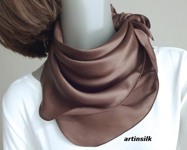 "Small Silk Charmeuse Brown Scarf Neck Kerchief, Artisan Handmade 21""x21"", Artinsilk"