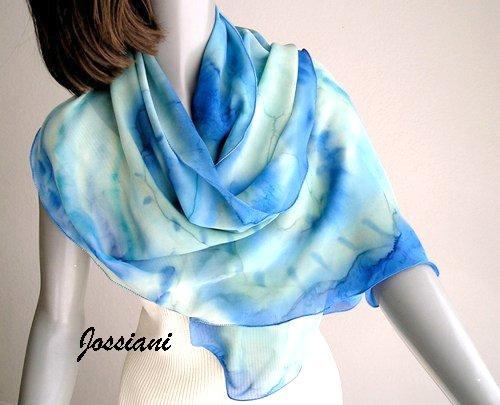 Lucite Light Blue Cerulean Coverup Scarf with Aqua Mint Sage, Hand Painted Silk, Jossiani