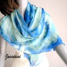 Lucite Light Blue Cerulean Coverup Scarf with Aqua Mint Sage, Hand Painted Silk, Jossiani