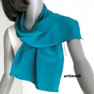 "Cerulean Teal Cyan Blue Scarf Crepe Pure Silk, Small Oblong 10"" x 43"", Artinsilk."