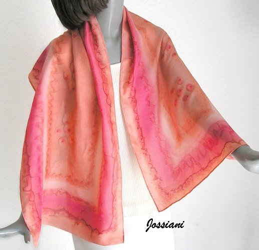 Nectarine Orange Scarf with Poppy Red Accents Unique Hand Painted Silk Art, JOSSIANI