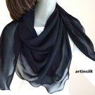 "Silk Chiffon Black Square Scarf 43"" x 43"" 100% Pure Silk 8mm,  Artisan Made, Artinsilk.."