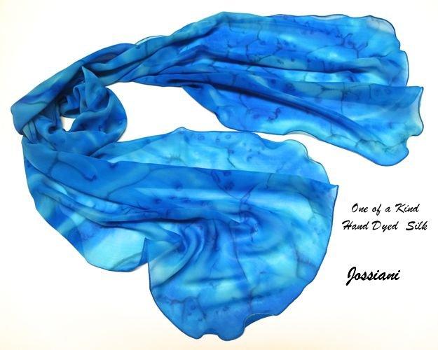 Hand Painted Silk Chiffon Scarf Aqua Cobalt Ultramarine, Sky turquoise, Unique JOSSIANI creation