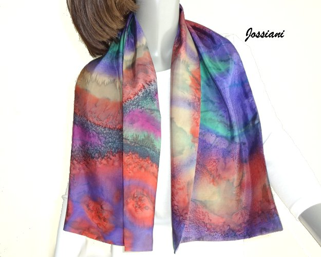 Hand-Painted Reversible Silk Scarf, Muted Multicolor Tones. Original by JOSSIANI.