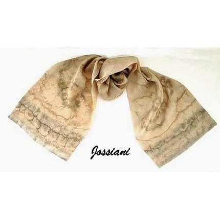 Hand Painted Silk Scarf, Champagne, wheat, Nomad, Iron Accents, by Jossiani