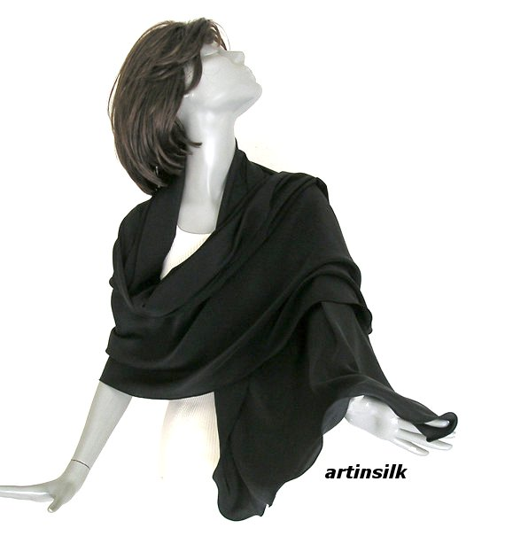 Black Shawl Silk Large Wrap, Natural Pure Crepe Silk Luxurious Evening Shawl