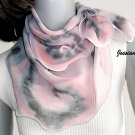 Hand Painted Silk Chiffon Gray Pink Quartz Small Neck Scarf Kerchief, Unique JOSSIANI creation