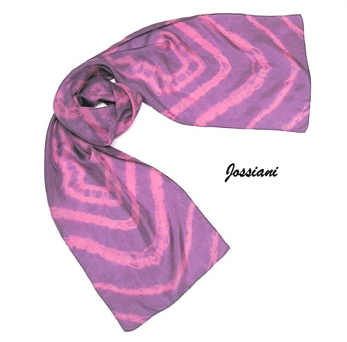 Lavender Mauve Rose Unique Scarf, Hand Dyed Silk, OOAK, JOSSIANI