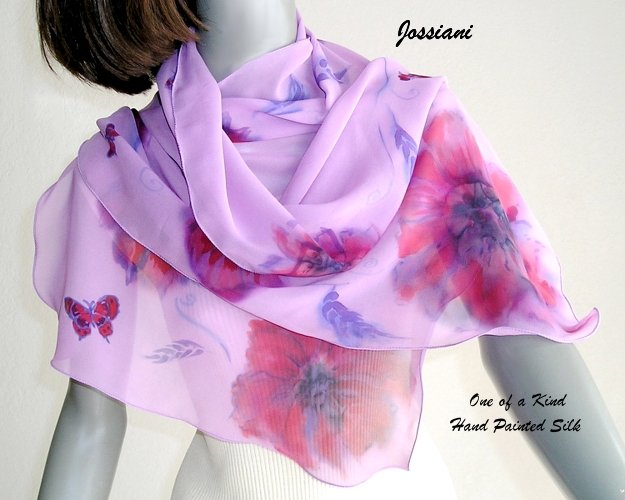 Hand Painted Silk Shawl Chiffon Lavender Red Purple Gray Scarf, Unique JOSSIANI creation.