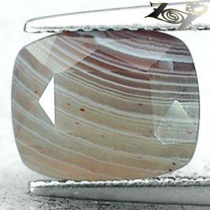 3.34 CT.Natural Cushion 9*10.5 mm. Banded Brown Milky White Gray Vein Sardonyx