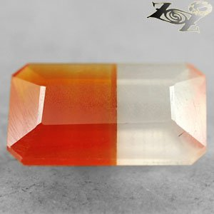 2.43 Ct.Natural Emerald 7.5*12 mm. Banded Half Orange White Sardonyx Carnelian
