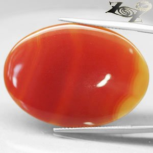 21.54 CT.Natural Oval 25*34 mm. Intense Sunset Red Orange Layers Clear Carnelian