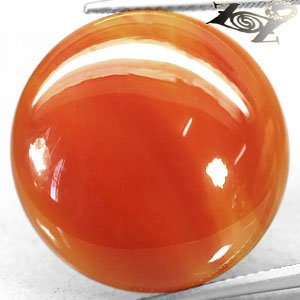 20.01 CT.Natural Round 22 mm. Banded Sunset Red Orange Africa Carnelian Sardonyx