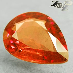 2.72 Ct.Natural Pear 8*11 mm. Tanga Vivid Hot Red Orange Sapphire Loose Gemstone