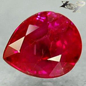 Natural Pear 5*6 mm. Vivid Juicy Blood Pigeon Red Mogok Burma Ruby 1 Ct.�寶�