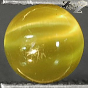 Natural Round 6.5 mm. Strong Cat's Eye Effect Intense Yellow Apatite 1.71 CT.Gem