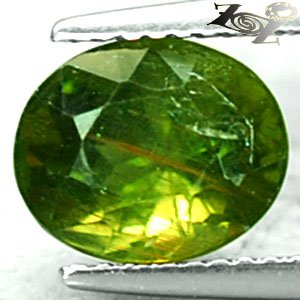 3.16 CT.Natural Oval 7.5*9 mm. Gold Rutiles Needles Inside Intense Green Apatite