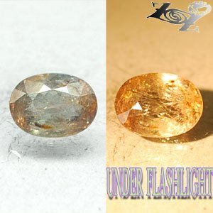 2.43 CT.Natural Oval 7*9.5 mm. Color Shift Salmon Yellow France Ferro Axinite