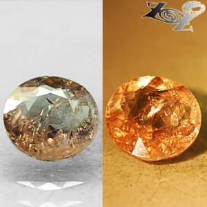 3.9 CT.Natural Round 10 mm. Color Shift Salmon Yellow France Ferro Axinite Gems