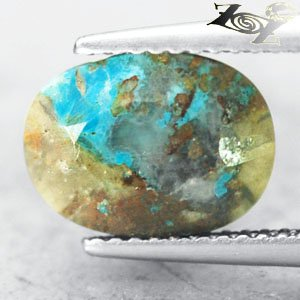 3.04 CT.COLLECTION RARE NATURAL OVAL BLUE CYRSTAL WHITE TENORITE CHRYSOCOLLA
