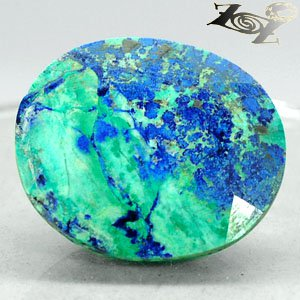 62.74 Ct.Natural Oval 27*31mm Blue Green World Map Azurite Chrysocolla ��礦��� ��
