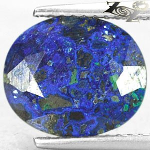 4.11 Ct.Natural Oval 9.5*11.5 mm. Sea Island World Map Pattern Azurite Malachite