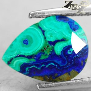 3.42 Ct.Natural Pear 9*11 mm. Sea Forest World Map Azurite Malachite ��礦 ���