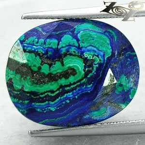 17.5 Ct.Natural Oval 14.5*18 mm. Blue Green World Map Azurite Malachite ��礦 ���