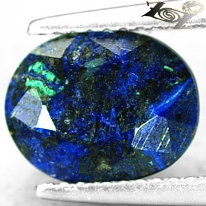 3.04 CT.Natural Oval 8*10 mm. Almost Hard Azure Blue World Map Azurite Malachite