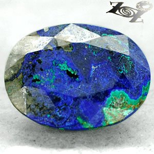 10.28 Ct.Natural Oval 13.5*17 mm. Blue Green World Map Azurite Malachite ��礦 ���