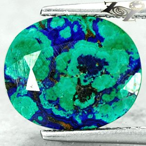4.41 Ct.Natural Oval 10*12 Forest River Map Blue Green Azurite Malachite ��礦 ���