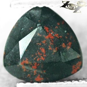 2.91 CT.Natural Trillion 9mm Red Spot Green Blood Shot Heliotrope Bloodstone ���