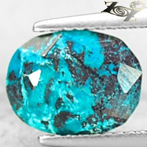 3.13 CT.Natural Oval 8*10.5 mm. Black Vein Whole Green Blue Chrysocolla ���� Gem