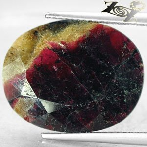 16.68 Ct.Natural Oval 16*20 mm. Magenta Red Crystal Yellow Canada Eudialyte Gems