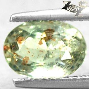 Natural Oval 6*8 Red Copper Spark Kiwi Green Illusion Confetti Sunstone 1.2 CT.