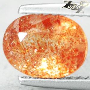 Natural Oval 6.5*8.5 mm. Spark Copper Orange Illusion Confetti Sunstone 1.77 CT.