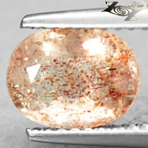 Natural Oval 6.5*8.5mm. Spark Hematite Peach Illusion Confetti Sunstone 1.48 Ct.