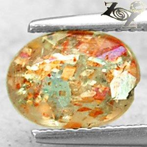 Natural Oval 6*8 mm Spark Hematite Kiwi Green Illusion Confetti Sunstone 1.07 CT