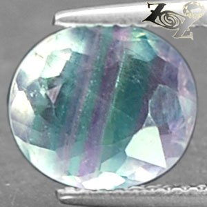 3.11 CT.Natural Oval 8.5*10 mm. Clear Green Purple Layers Vietnam Fluorite Gems