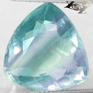 20.57 CT.Natural Trillion 16.5 mm Intense Green Purple Zone Layer Clear Fluorite