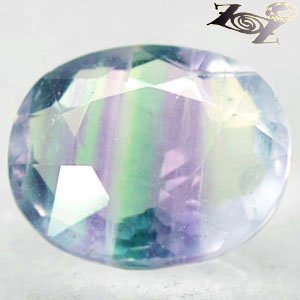 6.51 CT.Natural Oval 10*12 mm. Crystal White Intense Green Purple Layer Fluorite