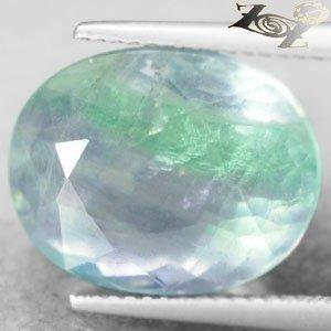13.73 CT.Firely Natural Oval 12*15.5 mm. Intense Green Purple Layer Fluorite Gem