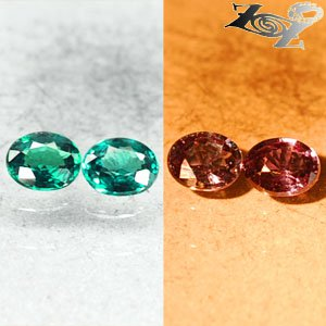 Pair Match Natural Oval 3.5*4.5 mm.Vivid Blue Green Color Change Garnet 0.61 CT.