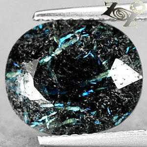 4.34 Ct.Natural Oval 10*12 mm. Titanium Blue Schiller Streaks Whole Jenakite